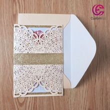 50pcs/set  free envelop and free seal Elegant Flora Design with glitter layer laser cut invitation classic Peach color