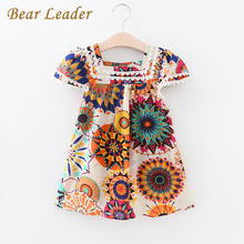 Bear Leader Girls Dress 2017 New Summer Style Girls Clothes Sleeveless Sunflowe Print Design China Dresses Children Clothes 3-7Y