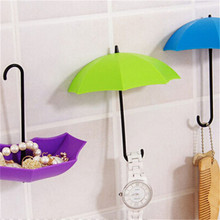 3Pcs/set Colorful Umbrella Wall Hook Key Hair Pin Holder Organizer Decorative Door Hook Towel Hanger Rails PC873428(China)