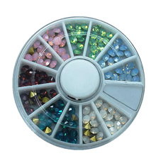 Japanese nail art fashion 1 wheel of 6 colors mixture opal color pointy back nail art glass rhinestone glitter crystal 120pcs(China)