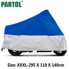 Partol Big Size 3XL Motorcycle Cover Moto Accessories Blue Silver UV Resistant Washable Quick Dry For Motorcycles Bike Sportster(China)