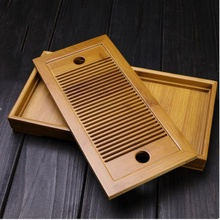Small Bamboo Kongfu Tea Table Serving Tray Chinese Wooden Tea Tray 27x13.7cm Tea Set Water Storage Traditional Teaware Home Gift(China)