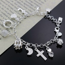 Beautiful charm pendant women lady wedding party silver bracelets new high -quality fashion jewelry Christmas gifts