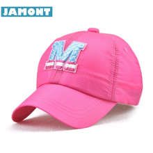[JAMONT] Letter M Kids Cap Summer Snapback Children Baseball Caps Girl Boy Hats Quick Drying Sun Hat Ultra Thin Casquette 5-10y(China)