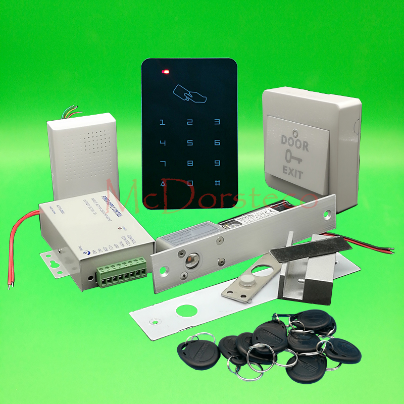 Brand New DIY Rfid Door Access Control Kit Set With Electric Bolt Lock Card Full Glass Door Access Control System<br>