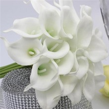 10 PCS Lot Hand made Real Touch PU Small Calla Lily Wedding Bridal Bouquet Flower Party Home Office Table Decoration