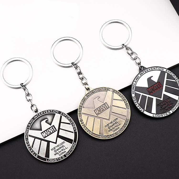 Metal Marvel Avengers Captain America Shield Keychain Spider man Iron man Mask Keychain Toys Hulk Batman Keyring Key Gift Toys (73)