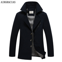 AIRGRACIAS Brand Mens Jacket Spring Fashion overcoat Men Clothes 98% Cotton Casual Men Jackets Coats Solid Color Outwear 818(China)