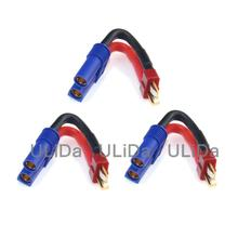 3PCS EC5 Female to T-Plug Deans Male Power Charger Adapter /w 12AWG Wire for RC Helicoper Mini Multirotor Quadcopter(China)