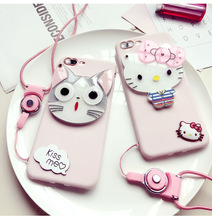 Cute Pink Cheese Cat Hello Kitty Phone Case for iPhone 5 5s SE 6 6s 7 Plus Soft Silicone Case Cover Coque with Lanyard Mirror