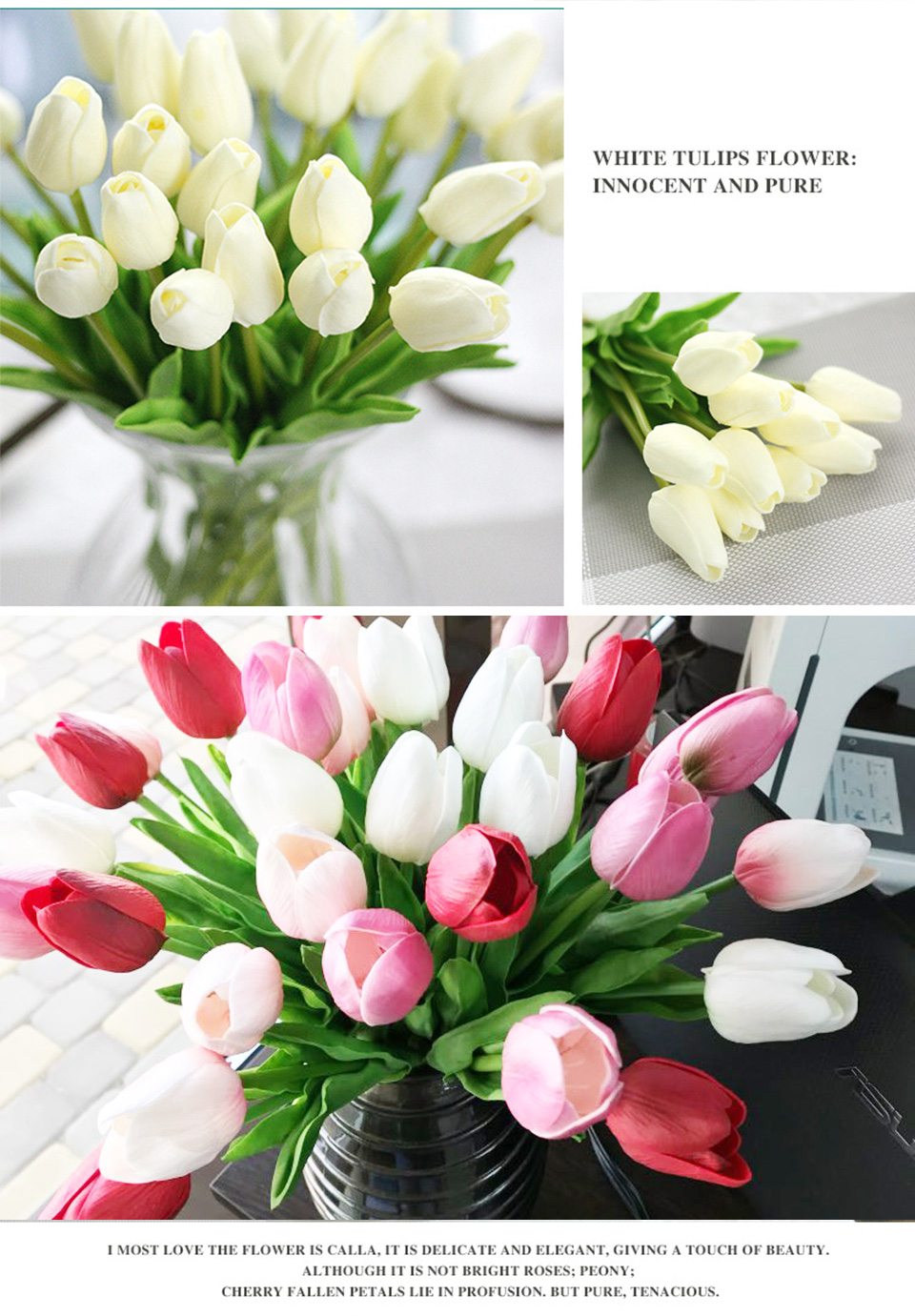1pc PU Tulip Artificial Flowers Mini Tulip Flower Real Touch Wedding 10 Colors Fake Flowers Tulips For Home Decoration_05