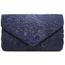 New Classy Lace Clutch Envelope Bag Bridal Designer Ladies Evening Party Prom, Navy blue(China)