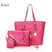Women Office Messenger 3 Bags Per Set Handbag Casual Bag 2017 Brand Women Bag High Quality Ladies Tote Bag Women Coin Purses(China)