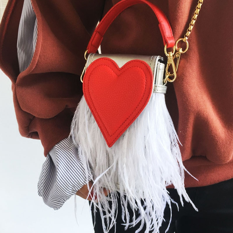 mini bag ostrich feathers small messenger bag women heart shaped bag summer 2017 red silver black pink yellow white color<br>