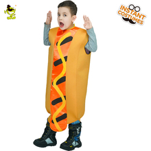 Unisex Kids Funny Hot Dog Costumes Carnival Christmas Party Smart Food Cosplay Jumpsuit for Performance