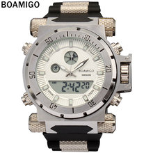 BOAMIGO 2016 china brand Men military sports watches Dual Time Quartz Digital Watch rubber band wristwatches relogio masculino