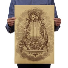 European Mythology Angel Organ Retro World Kraft Paper Poster Paint Walmart Crafts Living Room Bar Cafe Pub Home Decoration