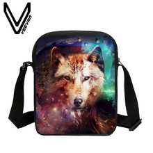 VEEVANV Brand 2017 Wolfs Image Bookbags 3D PU Prints Messenger Bags School Children Bag Fashion PU Students Study Crossbody Bags