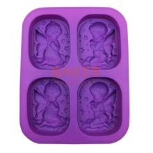 BAKER DEPOT DIY Home Silicone Mold for Handmade Soap boys and girls Baking Tools Angel CDSM-470(China)