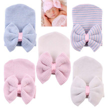 Baby Girl Newborn Beanie Hospital Cute Infant Hats Cotton Beanie With Bow Soft Knit Bonnet Striped Cap Baby Toddler Accessories