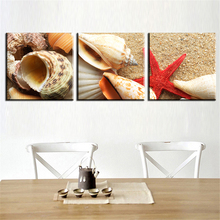 Modular Frameless Oil Painting Canvas Print Modern Home Decoration Art Charm modular pictures Pattern of shells on the beach for(China)