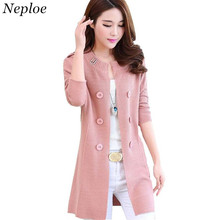 Neploe Causal Long Sweater Cardigan Plus Size 2018 Double Breasted Woman Knit Wear Long Sleeve O-neck Outerwear Pull Femme 33835(China)