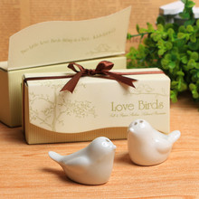 Promotions Wedding favor 100pcs=50boxes Ceramic Wedding Gifts Favors for Guests Love Birds Salt and Pepper Shakers ,Best gift