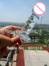 Can make warm by hot water retail glass dildo High-quality sex toys glass anal plug(China)
