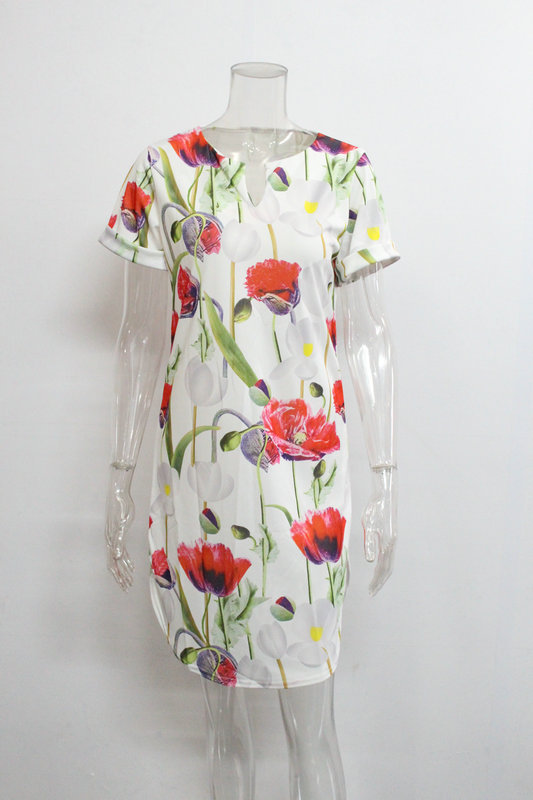 2018 Spring Summer Printed Women Dress O-Neck Hem Side Split Ladies Dresses Tie Sashes Short Sleeve Casual Sexy Female Vestidos 12