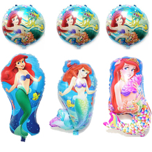 (6pcs/lot)mixed Mermaid balloons princess birthday balloon ariel little mermaid foil balloon party decoration(China)