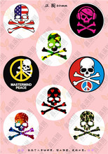 8Pcs Round Picture Cabochon Mix Skull Eye Mouse Image 30MM Glass Cabochon Jewelry Findings