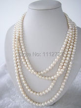 "2017 new fashion and moving 7-8mm White Akoya Cultured Pearl Necklace beads jewelry Natural Stone 70""BV39 Wholesale Price"