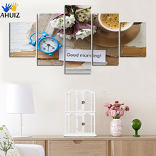 Good morning letter fruit and flower clock canvas painting poster decorated bedroom kitchen hotel background wall art gift FA220(China)