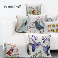 Pumelo Tree Birds Print Cushions  Design Flower Polyester Home Decor Sofa Car Seat Decorative Throw Pillow Capa De Cojines