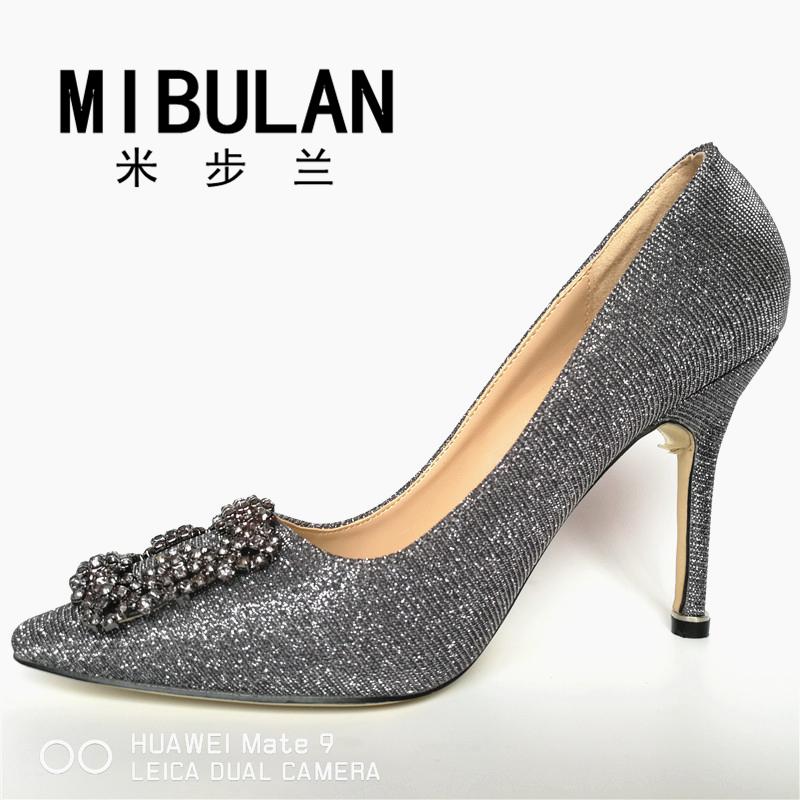 HTB1F.OuRVXXXXaGXpXXq6xXFXXX0 - Free Shipping classic silk stain diamond buckle wedding heels, female shining silk stian buckle big size party pumps, 33-43