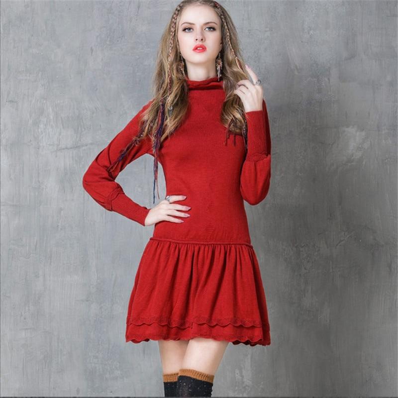 Vintage Women Dress Lantern Long Sleeve Bodycon Wool Knitted Dress Turtleneck Dress Womens Winter Dresses Vestidos FemininosÎäåæäà è àêñåññóàðû<br><br>