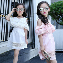 Ladies Shoulder Dress 2017 Summer Style Lace Dress Teenage Girl Fashion Cotton Hollow Clothes Hawaiian Girl Dress 68101214 year4(China)