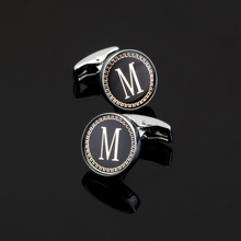 XK022 High quality gold lace letter M Mens Wedding Shirts Cufflinks accessories Cufflinks name uppercase M Cufflinks(China)