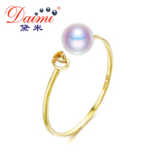 DAIMI Natural Pearl Ring Genuine 18K Gold Ring White Freshwater Pearl Ring Brand Jewelry Gift For Women(China)