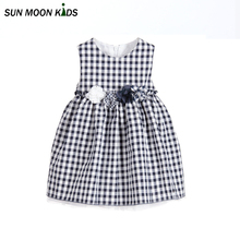Sun Moon Kids Summer girls dress new children clothing designer brand embroidery flower for princess party wedding kids clothes