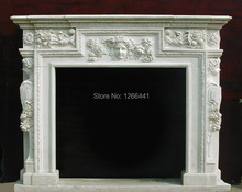 carved stone marble fireplace mantel with maiden sculpture Rococo style(China)