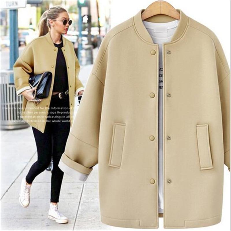 New Autumn Winter Women Coats Fashion O-Neck Loose Long Baseball Coat Cotton Casual Solid Warm Female Jackets Top QualityÎäåæäà è àêñåññóàðû<br><br>