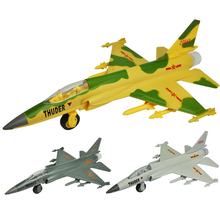 Alloy acousto-optic light pull back to FC - 1 xiaolong fighter aircraft model toy Children's toys children's New Year gift(China)