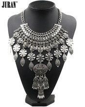 2017 fashion ethnic vintage hyperbole trend gold/silver-color plant tassel collar bib pendant necklaces statement jewelry