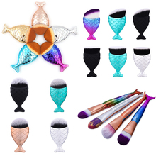 2017 New Mermaid Unicorn Makeup Brushes Fish tail Colorful Foundation Brush Portable Fish Brush Cosmetic Tools Eyeshadow Brush