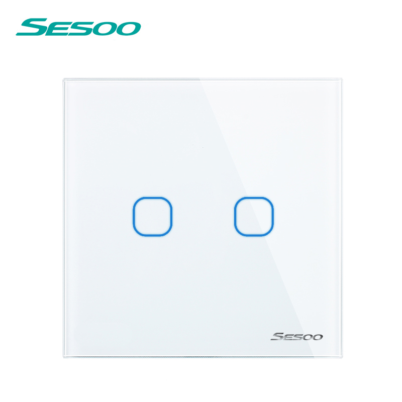 SESOO EU Standard Remote Control Switch 2 Gang 1 Way,Remote Control Light Switch, Remote Wall Touch Light Switch For Smart Home