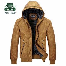 AFS JEEP 2016 Autumn Men's Hooded PU Leather Jacket,Wholesale Price Man's Solid Motorcycle Younger Mans Autumn Casual Cardigan