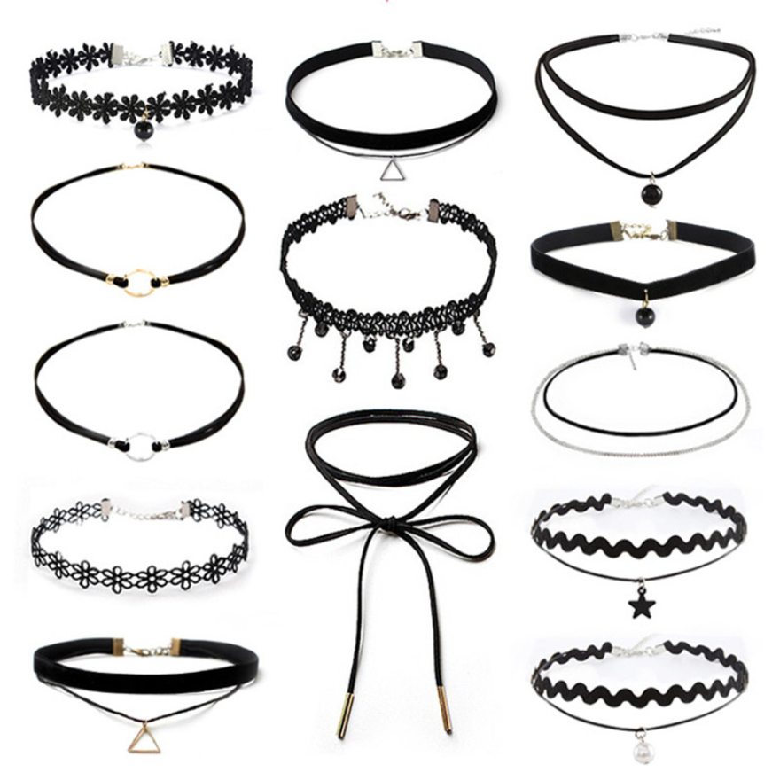 Wholesale 19 New Bijoux 2017 Collier Maxi Collares Charm Velvet Strip Multilayers Pendant Choker Necklace Women Party Jewelry(China)