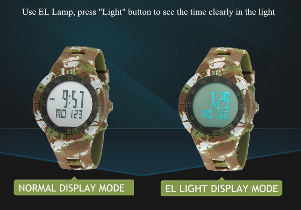 Digital LED Watch Army Green Men Sports Wristwatches Rubber Strap Waterproof Fashion Alarm Watch Clocks Stopwatches Reloj Hombre 3