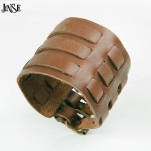 JINSE Punk Rock Biker Women Men Real Cow Leather Bracelet 3 Buckles Wristband Cuff Bangle Hot Sale 27cm*5.70cm PSL345(China)